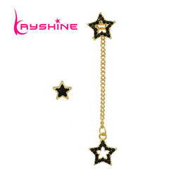 Wholesale 14k Gold Star Stud Earrings - Kayshine Fashion Gold-Color Long Chain Drop Earrings For Female Black Enamel Beads Asymmetrical Star Party Earrings Accessories