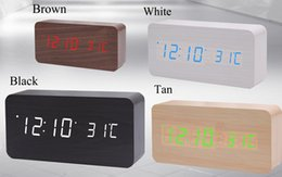 Wholesale Wooden Clock Led - Wooden LED Alarm Clock with Old Style Temperature Sounds Control LED Display Electronic Desktop Digital Table Clocks for Best Gifts