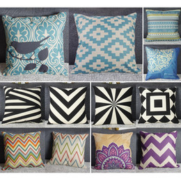 Wholesale Cheap Throw Cushions - Wholesale- 2016 Hot New Cotton Linen Home Decorative Throw Pillow Pillowcase Printed Cushion Geometry Nature Cases Cheap Z2S1