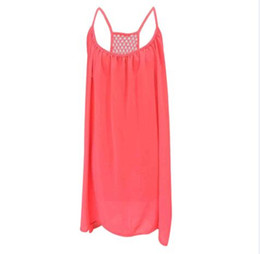 Wholesale Wholesale Mesh Skirts - 2017 burst large size women's fashion hanging strap halter skirt mesh stitching dress halter sexy chiffon fashion dress