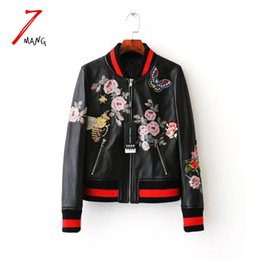Wholesale Leather Bomber Jacket Women - Wholesale- Plus size 2017 autumn women street black embroidery flower printing pu leather baseball jacket long sleeve luxury bomber jacket