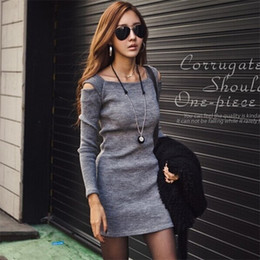 Wholesale Grey Black Sweater Dress - Free shipping grey Fashion Autumn Winter Women Sweater Knitted Dress Long Sleeve Bodycon Stretch Woman Solid Casual Party Lady Dresses
