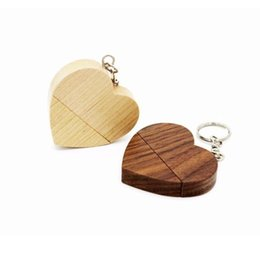 Wholesale Heart Shaped Usbs - Fashion Wooden USB Drive 8GB 16GB Heart shape Pen Drive U disk Memory for Business or wedding gift