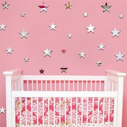 Wholesale Kids Acrylic Mirrors - Wholesale- 20PCS Set Stars Wall Stickers Luminous Stickers Fluorescent Wall Stickers festival Home Decoration Kids Room Toy C
