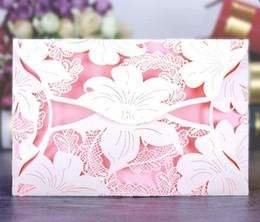 Wholesale Design Flower Wedding Cards - 2017 Lily Flower Design Creative Hollow Wedding Invitations Card  Business Cards C001 Accept Customer Design