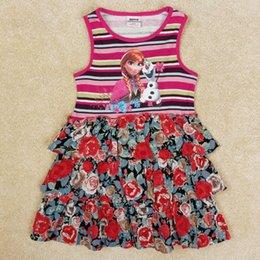 Wholesale Anna Nova - 5pcs lot 18 6Y nova cotton anna dress elsa girl dresses sleeveless flower girl summer tutu princess dress children clothing 2016