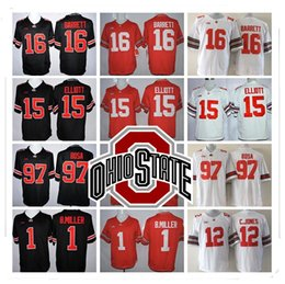 Wholesale Browns Jerseys - Stitched LIMITED NCAA Ohio State Buckeyes #15 Elliott #97 Joey Bosa #12 C.JONES #16 BARRETT #1 B.Miller Jersey Wholesale Hot Sale