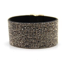 Wholesale Pave Wrap - Wholesale- High Quality velvet leather 17 rows crystal bracelet with full pave crystal wrapped bracelets full crystal jewelry