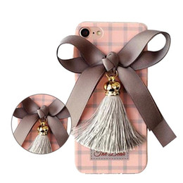 Wholesale Iphone Rhinestone Lanyards - Lovely Bowknot Tassel Case with Lanyard Deer Pattern Cover for iPhone 7 6s 6 plus Opp Bag