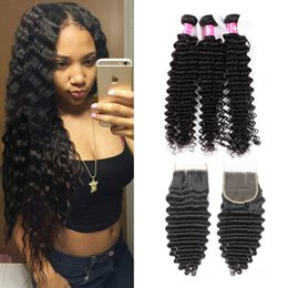 Wholesale Remy Hair Weft Curly - Deep Curly Virgin Brazilian Hair Bundles With Lace Closure Unprocessed Peruvian Human Hair Weaves With Closure 1B Black Soft Remy Hair Weft
