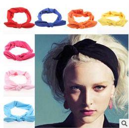 Wholesale Headscarf Styles - New Fashion Korean Style Rabbit Ear Headscarf Elastic Scrunchy Headbands For Women Hair Accessories