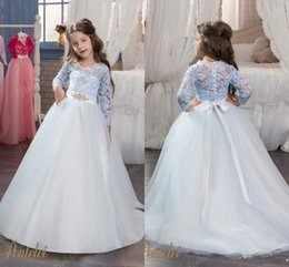 Wholesale Cute Bow Shirts - Bow Sash 2017 Flower Girl Dresses Blue Tulle Lace Long Sleeves Ball Gown Cute Little Girls Pageant Birthday Gowns