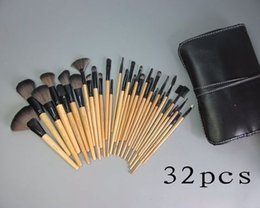 Wholesale Makeup Brush White Leather - Factory Direct DHL Free Shipping New Makeup Brushes 32 Pieces Brush Sets+Leather Pouch!