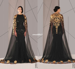 Wholesale Plus Size Formals Empire Dress - Black Arabic Muslim Evening Dresses Tulle Cloak Gold and Black Sequins Crew Neck 2016 Plus Size Mermaid Formal Wear Long Pageant Prom Dress