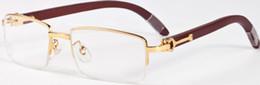 Wholesale Plastic Mirror Squares - rimless clear lenses Oculos De Sol Gafas Classicunglasses Women wooden Brand Designer white Buffalo Horn Glasses Eyewear men women with box