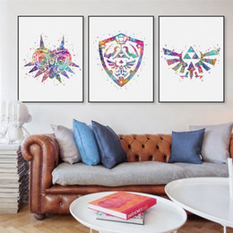 original watercolor modern legend of zelda 1 logo game movie canvas a4 art print poster wall pictures home decor painting no frame dropshipping uk - Home Decor Uk