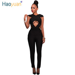 Wholesale Wholesale Womens Overalls - Wholesale- HAOYUAN Hollow Out Rompers Womens Jumpsuit 2017 Summer Backless Black Sexy Bodycon Bandage Jumpsuits Full Bodysuits Overalls