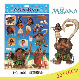 Wholesale Action Wall - Cartoon Stamping Stickers 20*30cm Kids Trolls Moana Foil Stickers Reward Sticker Movie Action Figures Children Stickers OOA2303
