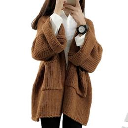Suéter de invierno suelto coreano online-Venta al por mayor-otoño invierno nuevo coreano Cardigan Sweater mujeres 2016 gruesa suelta manga murciélago manga larga todo-matemáticas vendedor caliente tejer suéteres capa