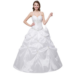 Wholesale Embroidered Halter Wedding Dress - In Stock Sweetheart Halter Wedding Dress Embroidered Ball gown wedding gown Beaded Ruffle Lace Up bridal gowns country wedding dresses