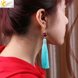 Wholesale Silk Agate - CSJA Exaggerated Long Silk Tassel Earrings Fringed Dangle Earring Natural Stone Agate Beads Gold Hook Eardrop for Women Jewellery Gifts E523