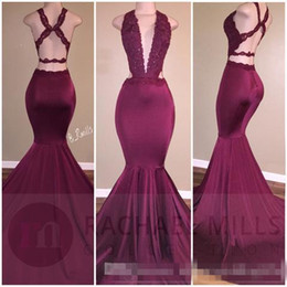 Wholesale Split Sleeve Occasion Dresses - 2017 Burgundy Sexy Plunging V Neck Mermaid Prom Dresses Lace Appliques Backless Ruched Long Party Occasion Gowns Long Evening Dresses