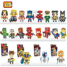 Wholesale Mini Batman - 8pcs lot 32 Styles LOZ 4001-4004 Mini Cube R2D2 Yoda Model Building Blocks DIY Batman Spiderman Ironman Hulk Robot Bricks Figure