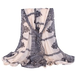 Wholesale Hijab Cotton Shawl - 2017 NEW European and American Vintage Beige Lace pattern Voile Women Scarves Shawls Femme Foulard Hijab Infinty Echarpe