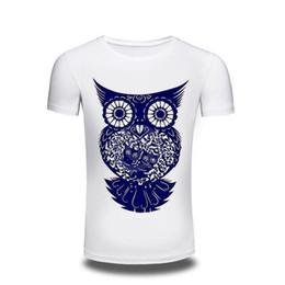 Wholesale Owl Top Men - Camping T-Shirts T Shirt Men men's Clothing 2017 Mens Printed Owl Design Tops & Tees T Shirt Men Short Sleeve Slim T shirt Homme XXXL free