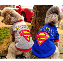 Wholesale Pet Apparel For Large Dogs - Superman Pet Constume Dog Clothes For Dogs Cute Superhero Dog Apparel Puppy Spring Summer Sport Jacket Teddy