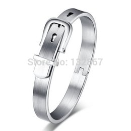 Wholesale Fashon Jewelry - Wholesale- Fashon British style Jewelry Stainless Steel Silver Belt Buckle Handcuff Womens Smooth Bangle Bracelet