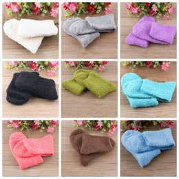 Wholesale Wholesale Hosiery Wholesalers - Wholesale- 2016 Winter Fashion Womens Casual Fuzzy Thick Warm Candy Colors Slipper Socks Ladies Girls Hosiery