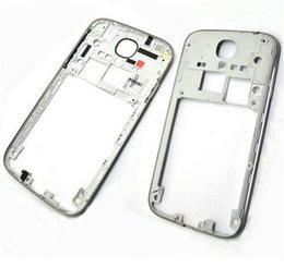 Wholesale Gold Plated S4 - For Samsung Galaxy S4 i9505 I9500 i337 Back Housing Middle Bezel Frame Plate Case+Side Button Key White Black Gold Colour
