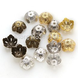 Wholesale Bronze Hollow Metal Flower - Gold Silver Bronze Rhodium Hollow Flower Filigree Metal Bead Caps Hat End Caps 500pc lot 13.5*5mm DIY JewelryF2412