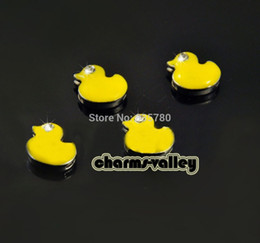 Wholesale Duck Plate - Fashion Jewelry Charms Free Shipping 50PCS 8MM Yellow Duck Slide Charms Collar Charms Fit 8mm Wristband Belts Keychain