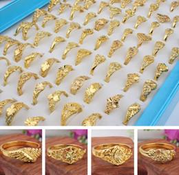 Ordem anéis banhados a ouro on-line-2017 nova moda menina / lady banhado anel de ouro ordem misturada misturado multi tamanho do estilo 100 pçs / lote design requintado jóias