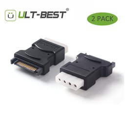Potenza seriale da 15 pin online-Wholesale-ULT-Best 2 Pacco 15 Pin Sata Serial ATA Maschio a Molex IDE 4 Pin Femmina M-F Hard Drive Adapter Power Line Power Line
