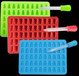 Wholesale Silicone Bear Jelly - 100pcs Fashion Kitchen Tools Mold 1 Set 50 Cavity Silicone Gummy Bear Chocolate Mold Candy Maker Ice Tray Jelly Moulds