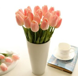 Wholesale Orange Artificial Tulips - Real Touch rose Bud Artificial silk wedding Flowers bouquet Home decorations for Wedding Party or Birthday Small bud