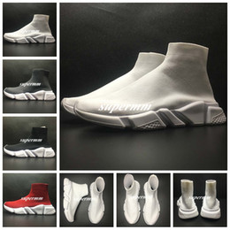 Wholesale Striped Shoes Women - 2017 Speed Trainer Stretch-knit Mid Black White Red Sneakers BL Arena Flats Kanye West Women Mens Designer Shoes Trainers Casual Shoes