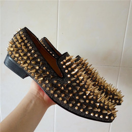 Wholesale Low Heel Gold Glitter Shoes - Gold Studs Loafers Men Flats With Spikes and Diamonds Glitter Slipper Shoes Fashion Men's Wedding Party Dress Shoes