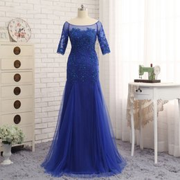 Wholesale Photo Half - Mother Of The Bride Dresses 2017 Half Sleeves Royal Blue Scoop Neck Evening Party Gowns Tulle Sheer Long Formal Dress For Groom Mother