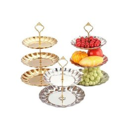 Wholesale Cake Display Stands Wholesale - Stainless Steel 3-Tiered Fruits & Desserts Silver Gold Cake Stand Plate Display For Wedding Party Birthday Decoration ZA1548