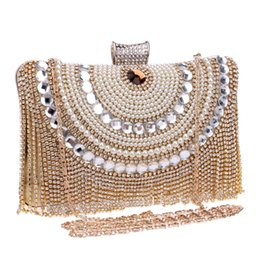 Wholesale Beaded Evening Purse Gold - Wholesale-HOT Beaded women evening bags tassel rhinestones clutches evening bag diamonds purse evening bag black silver gold bags