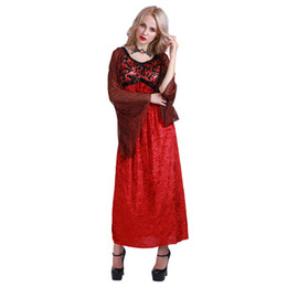 Wholesale Gothic Long Skirts Women - Vampire Costume Renaissance Dress Women Witch Gothic Queen Dresses Long Sleeve Full Length Skirts for Adult with Bat Decoration