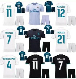 Wholesale Madrid Away - Thai quality 2018 new Real Madrid Home white Soccer Jersey KIT 17 18 Away black soccer shirt Ronaldo Bale Football uniforms Asensio SERGIO