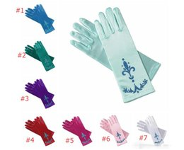 Wholesale Kids Latex Costume - PrettyBaby glitter powder print kids girls children party long gloves elsa coronation gloves Elsa And Anna Princess Gloves For Party