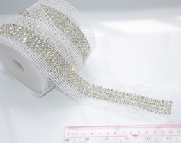 Wholesale Diamond Cake Banding - Wedding cake rhinestone banding,4rows1yard lot clear rhinestone with silver base white fabrice stage sew on patches chain