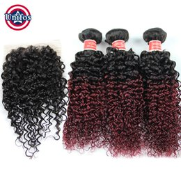 Wholesale Kinky Permed Lace Closure - Peruvian Ombre Human Hair With Closure 3 pcs Virgin Peruvian Kinky Curly Hair With Closure Ombre Burgundy Curly Hair With Lace Closure 4*4