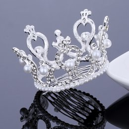 Wholesale Crystal Hair Accessories Peacocks - Round Circle Crown Hair Comb Tiara Rhinestone Pearl Couple Peacocks Tiaras and Crowns Bride Bridesmaid Hair Jewelry Prom Pageant Accessories